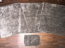 ROMANY WASHABLES 120x160CM XXLARGE SIZE SPARKLY SET OF 4  MATS GEL BACK SILVERS